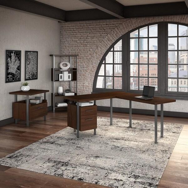 Bush Furniture Architect L Shaped Desk with File Cabinet and Bookcase