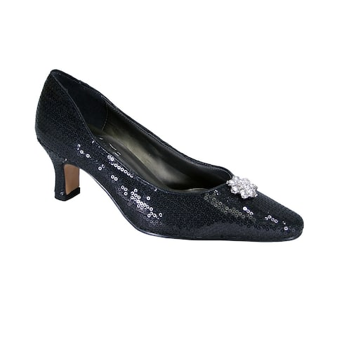 FLORAL Ada Extra Wide Width Sequins Vamp and Rhinestone Ornament Pumps