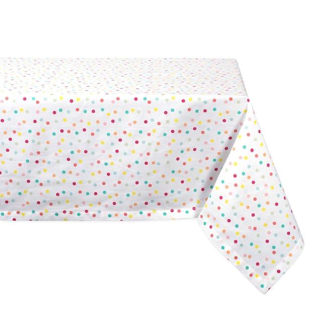 "DII Lemon Bliss Print Tablecloth 70 Round - 52x52"" - Polka Dots"