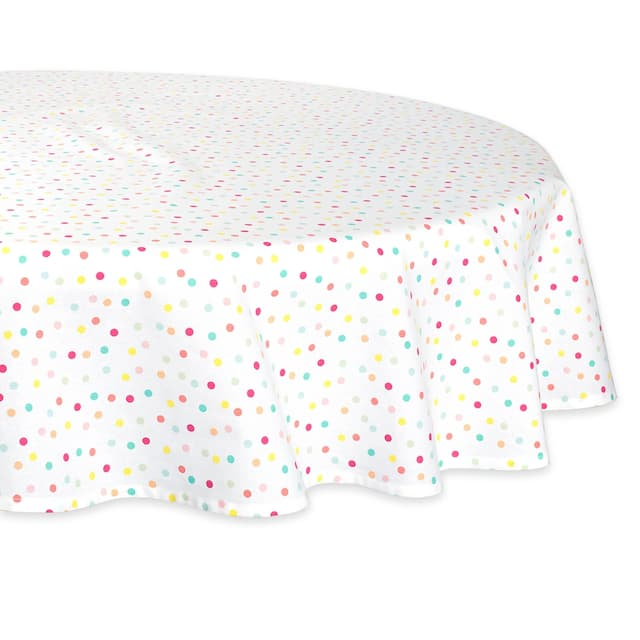 "DII Lemon Bliss Print Tablecloth 70 Round - 70"" Round - Polka Dots"