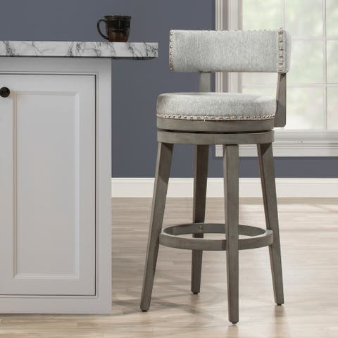 The Gray Barn Pond Road 360 Degree Swivel Wood Stool, Antique Gray