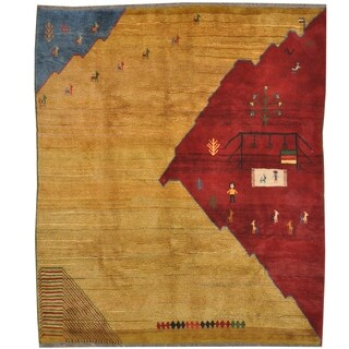 Handmade One-of-a-Kind Gabbeh Wool Rug (Iran) - 8' x 9'6
