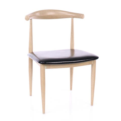 Retro Classic Metal Elbow Dining Chair Natural/Black Set of 2