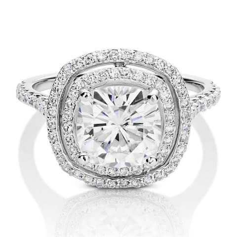 Moissanite by Charles & Colvard 14k White Gold Cushion Double Halo Ring 2.90 TGW