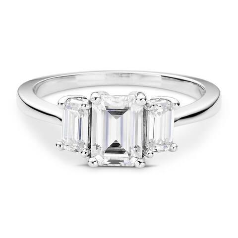 Moissanite by Charles & Colvard 14k White Gold Three Stone Emerald Ring 1.55 TGW