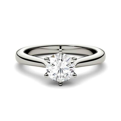 Moissanite by Charles & Colvard 14k Gold 0.50 TGW Round Solitaire Ring