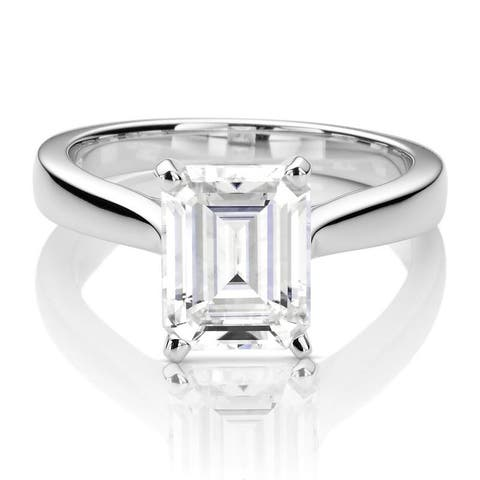 Moissanite by Charles & Colvard 14k White Gold Emerald Solitaire Ring 2.52 TGW
