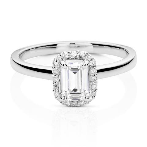 Moissanite by Charles & Colvard 14k White Gold Emerald Halo Ring 0.68 TGW