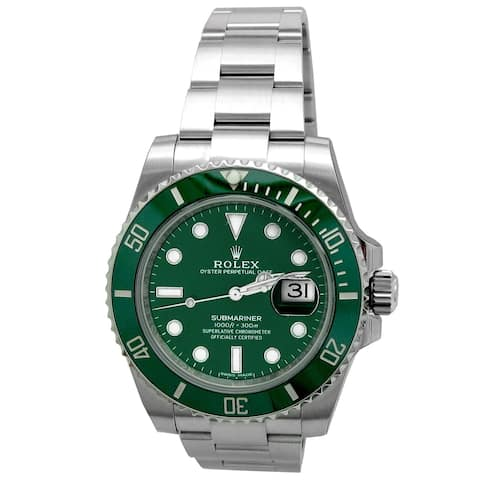 Pre-owned 40mm Rolex Stainless Steel Submariner with Green Dial - N/A - N/A