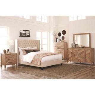Loft Design Natural Withwashed Wood 5-piece Bedroom Set with Demi-Wing Upholstered Bed