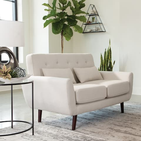 OFM 161 Collection Mid Century Modern Tufted Fabric Loveseat Sofa with Lumbar Support Pillows, Walnut Legs (161-FLS2)