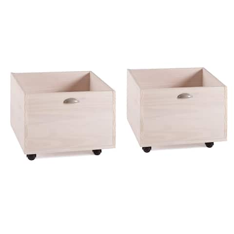 Toy Boxes in Washed White Finish