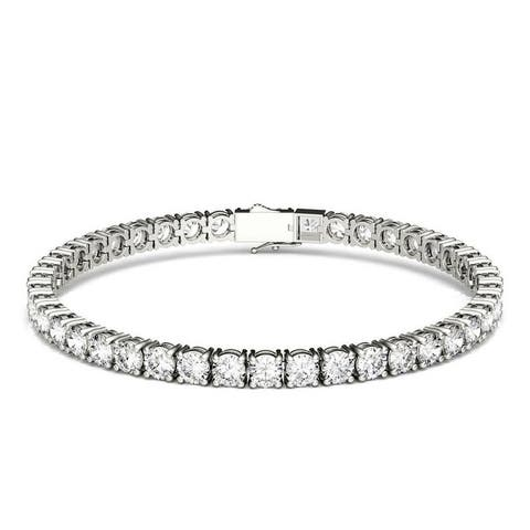 Moissanite by Charles & Colvard 14k White Gold Tennis Bracelet 9.89 TGW