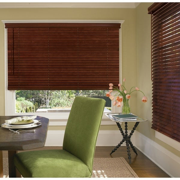 Porch & Den Jex Wood Tone Fauxwood Cordless 2-inch Blinds. Opens flyout.