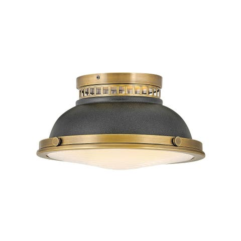 Hinkley Emery 2-Light in Heritage Brass with Aged Zinc