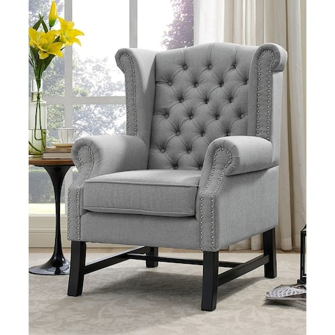 Vista Light Grey Fabric Wingback Button Tufted Accent Chair
