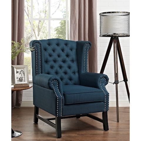 Vista Blue Fabric Wingback Button Tufted Accent Chair