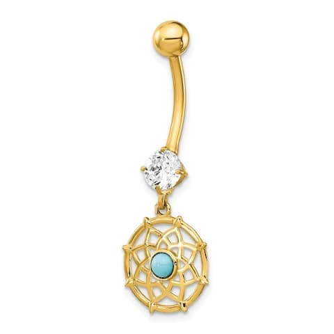 Curata Solid 14k Yellow Gold Cubic Zirconia and Simulated Turquoise Mandala Dangle Belly Ring (12mm x 35mm)