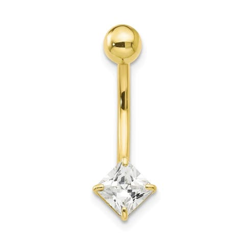 Curata Solid 10k Yellow Gold With 5mm Square Cubic Zirconia Belly Ring Dangle (6mm x 23mm)