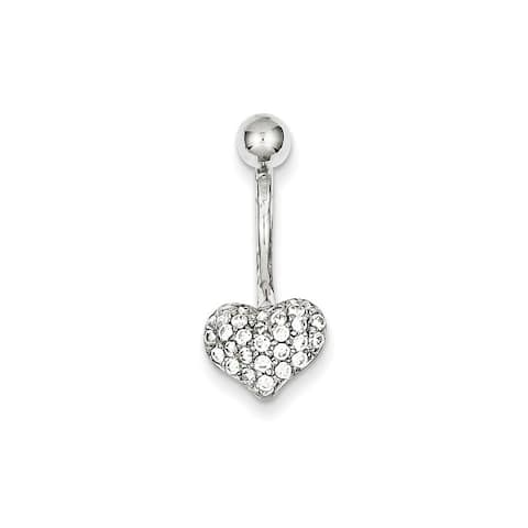 Curata Solid 10k White Gold With Pave Cubic Zirconia Heart Belly Ring Dangle (10mm x 18mm)