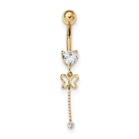 Curata Solid 14k Yellow Gold Cubic Zirconia 5mm Butterfly Chain Dangle Belly Ring (5mm x 40mm)