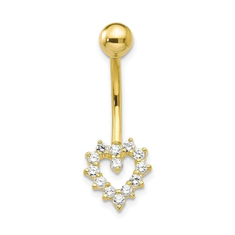 Curata Solid 10k Yellow Gold With Cubic Zirconia Heart Belly Ring Dangle (10mm x 26mm)