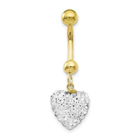 Curata Solid 10k Yellow Gold With Dangle White Crystal Heart Belly Ring Dangle (11mm x 33mm)