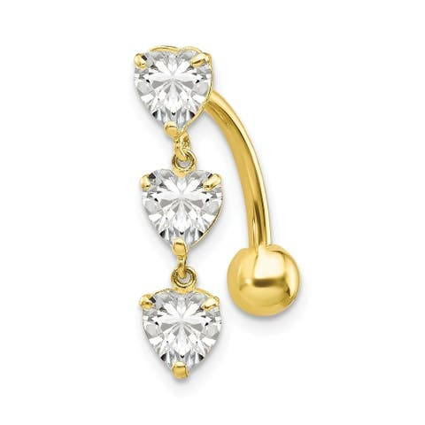 Curata Solid 10k Yellow Gold 5mm Heart Belly Ring Dangle (5mm x 20mm)