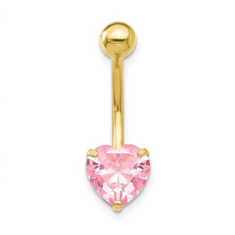 Curata Solid 10k Yellow Gold With 8mm Pink Cubic Zirconia Heart Belly Ring Dangle (8mm x 24mm)