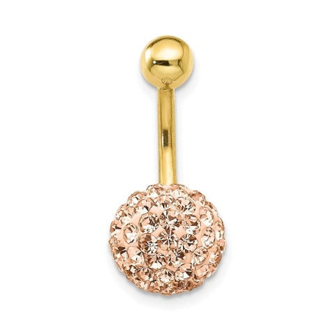 Curata Solid 10k Yellow Gold With Champagne Crystal Ball Belly Ring Dangle (11mm x 23mm)
