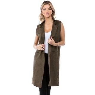 Women's Faux/Suede Knit Long Vest with Pockets