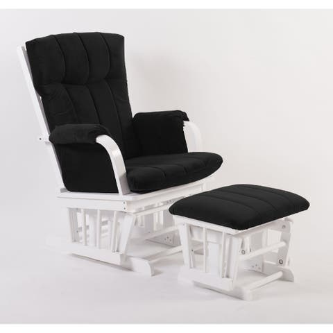 Artiva Home Deluxe Microfiber White Wood Glider and Ottoman Set, Black - N/A