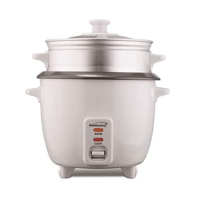 Brentwood TS-480S 15-Cup(Uncooked) Rice Cooker and Food Steamer, White