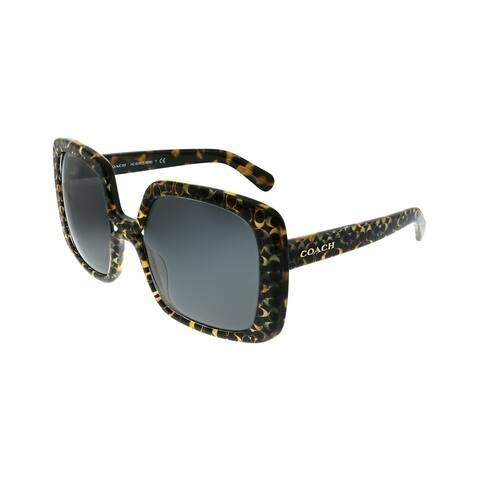 Coach L1038 HC 8245 551987 Womens Spotty Tortoise Coach Signature Frame Dark Grey Lens Sunglasses