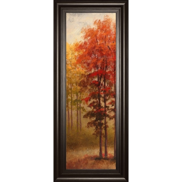 """18 in. x 42 in. """"Fall Trees 2"""" By Michael Marcon And Mossy Oak Native Living Framed Print Wall Art"""