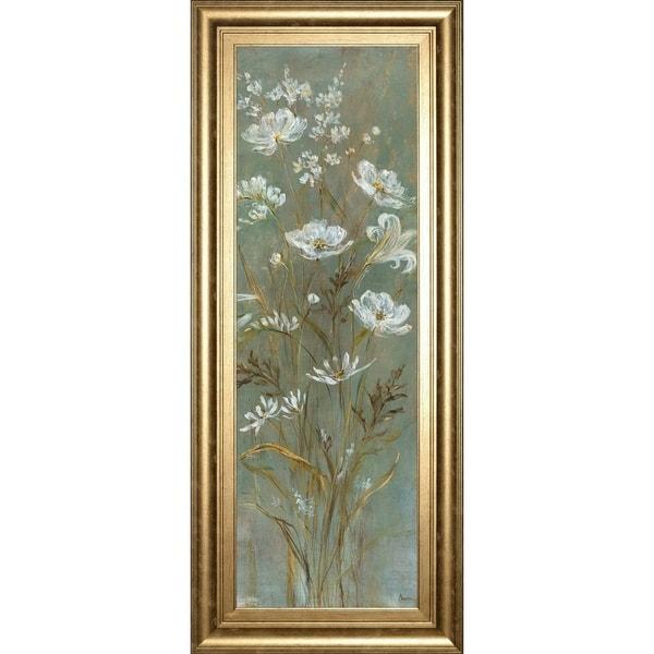 "18 in. x 42 in. ""Celadon Bouquet I"" By Carson Framed Print Wall Art"
