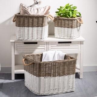 Glitzhome Natural/White Willow Baskets (Set of 3)