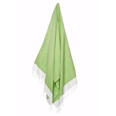 "Lime Green Weave Turkish Peshtemal Towel 72"" x 31"""