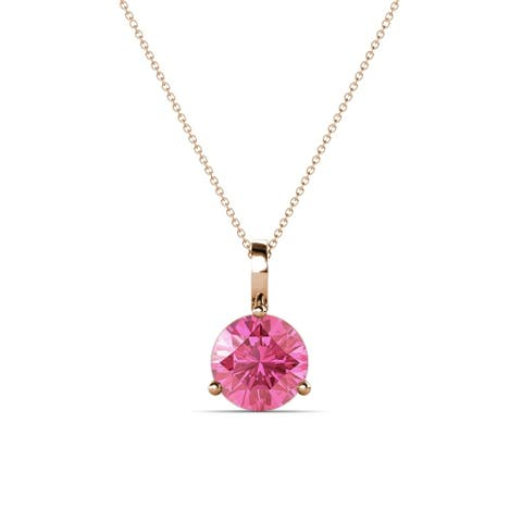 """TriJewels 0.87 ct Pink Tourmaline Solitaire Necklace 18"""" 14KR Gold"""
