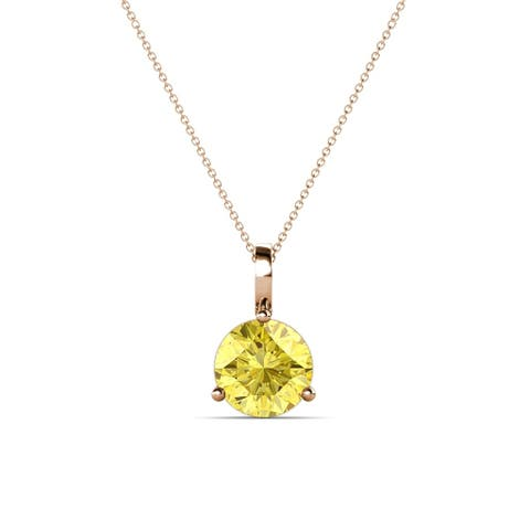 """TriJewels 1 ct Yellow Sapphire Solitaire Necklace 18"""" 14KR Gold"""