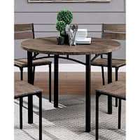 Zachary Industrial 40-inch Antique Brown Round Dining Table by FOA - Black/Antique Brown