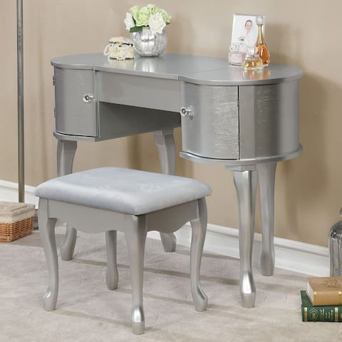 Silver Orchid Allison Silver 2-piece Wood Vanity Table Set