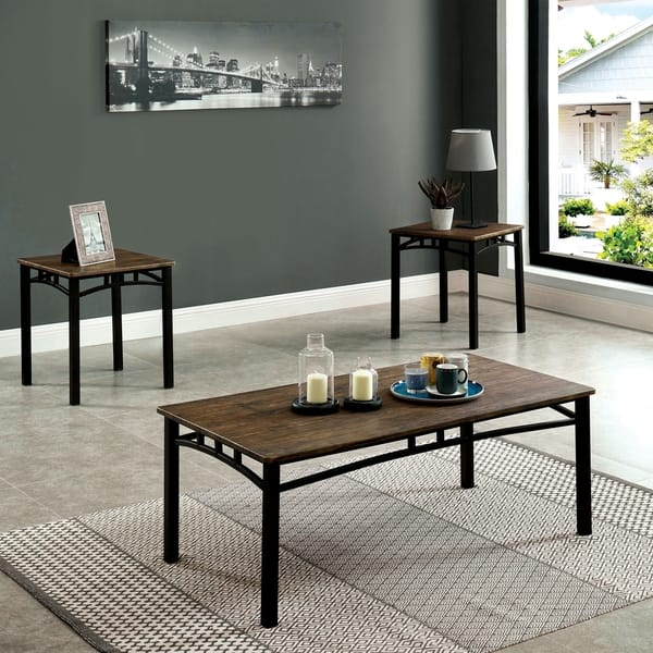 Carbon Loft Weatherly Antique Brown 3 Piece Coffee Table Set On Sale Overstock 28608973