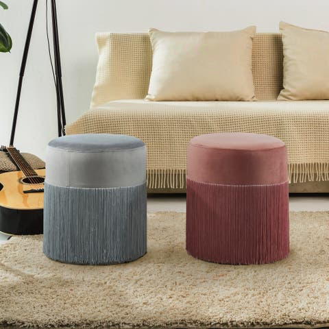 Silver Orchid Bergere Contemporary Ottoman