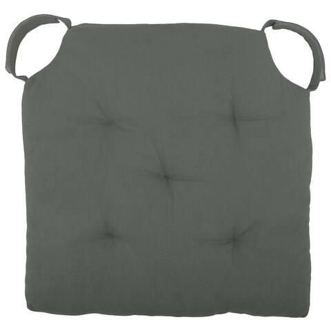 "Cottone Polyfill Fiber Chair Pads w/5 Velcro Tucks 16""x16"" Square Chair Pad Extra-Comfortable & Soft Chair Cushion Pad,Grey"