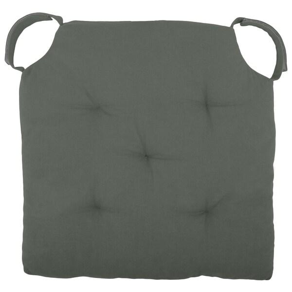 "Cottone Polyfill Fiber Chair Pads w/5 Velcro Tucks|16""x16"" Square Chair Pad|Extra-Comfortable & Soft Chair Cushion Pad,Grey"