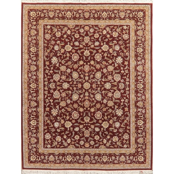 """Agra Oriental Hand-Knotted Traditional Wool Indian Area Rug - 9'10"""" x 7'9"""""""