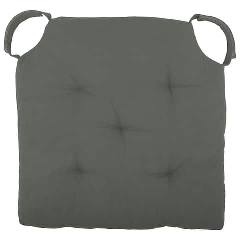"Cottone Polyfill Fiber Chair Pads w/5 Velcro Tucks 18""x18"" Square Chair Pad Extra-Comfortable & Soft Chair Cushion Pad,Grey"