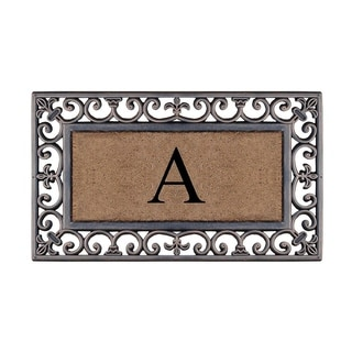 "A1HC First Impression Rubber and Coir Classic Paisley Border  Bronze 18"" X 30"", Monogrammed Door Mat"