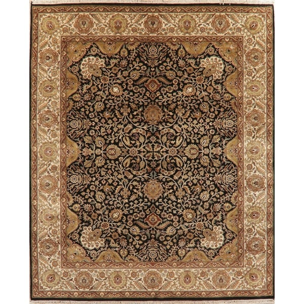 """Wool Agra Oriental Hand-Knotted Traditional Indian Area Rug - 9'9"""" x 8'1"""""""